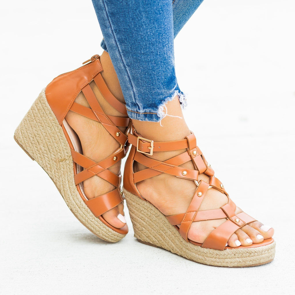 Womens Studded Gladiator Espadrille Wedges - Soho Girls - Tan / 5