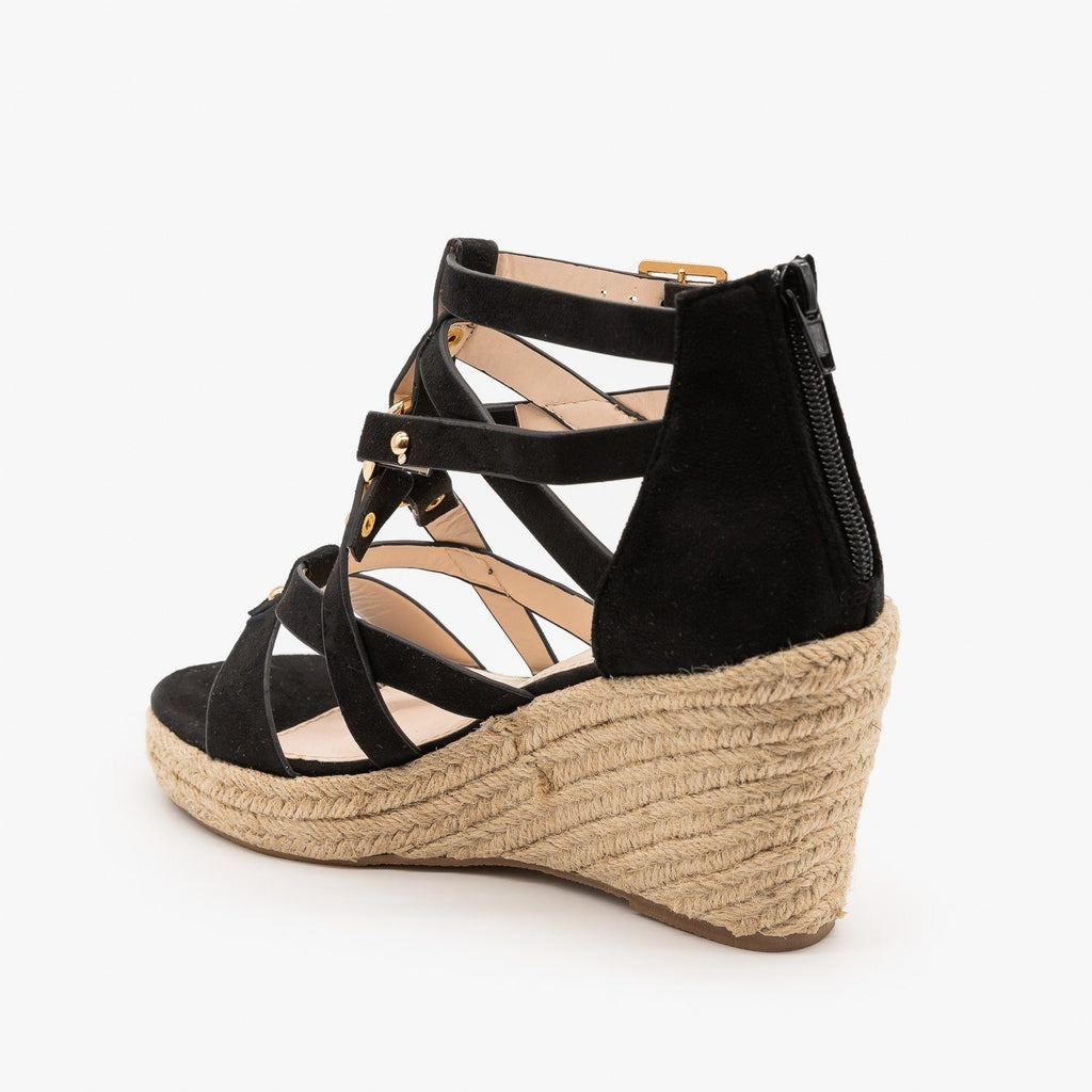 Womens Studded Gladiator Espadrille Wedges - Soho Girls