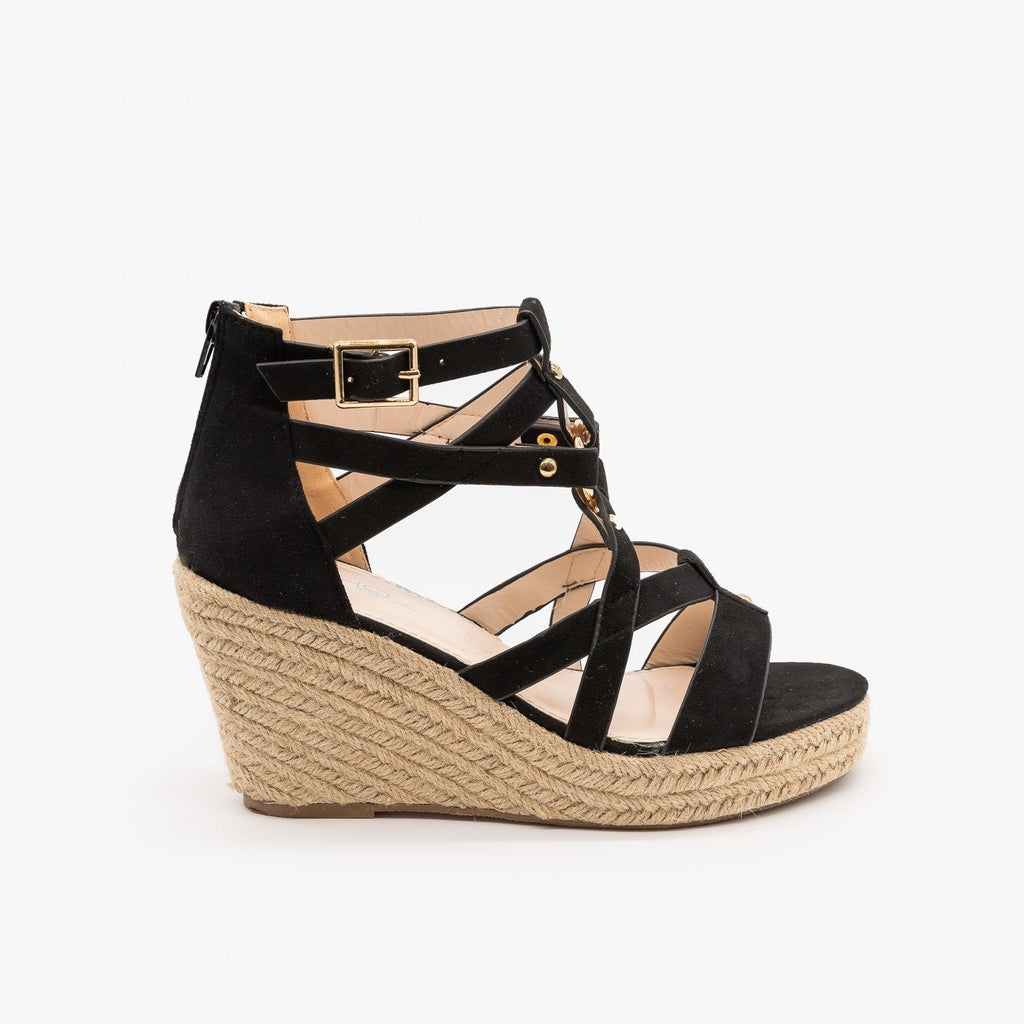 Womens Studded Gladiator Espadrille Wedges - Soho Girls - Black / 5