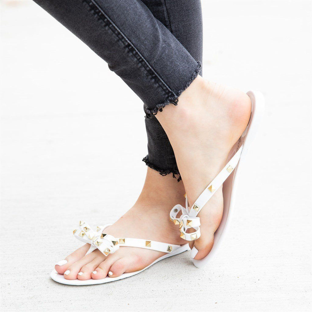 Womens Studded Jelly Bow Tie Sandals - Weeboo