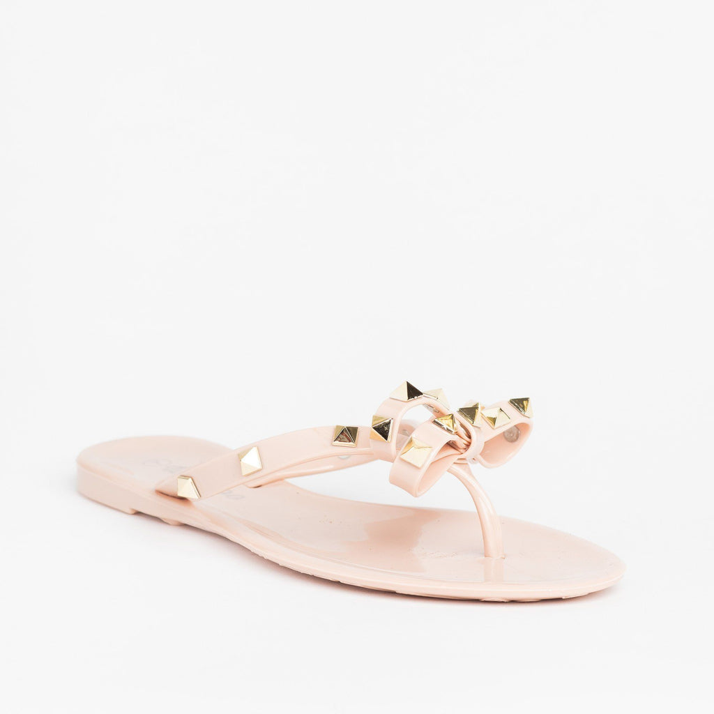 Womens Studded Jelly Bow Tie Sandals - Weeboo - Nude / 5