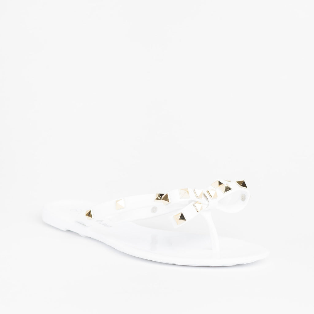 Womens Studded Jelly Bow Tie Sandals - Weeboo - White / 5