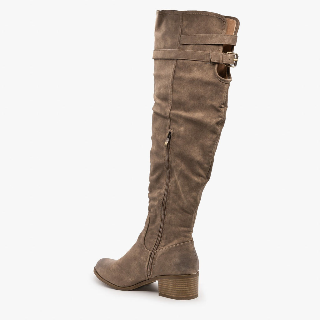 Womens Studded Knee High Boots - AMS Shoes