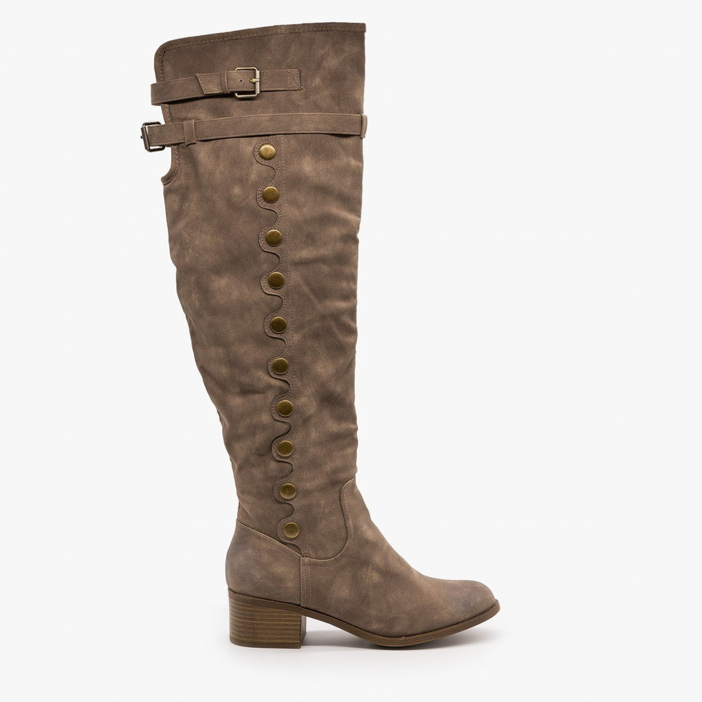 Womens Studded Knee High Boots - AMS Shoes - Taupe / 5