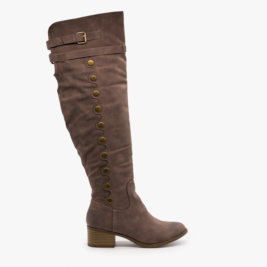 Womens Studded Knee High Boots - AMS Shoes - Brown / 5