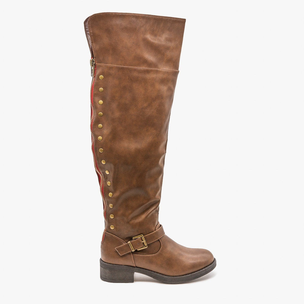 Womens Studded Knee High Boots - Refresh - Brown / 5