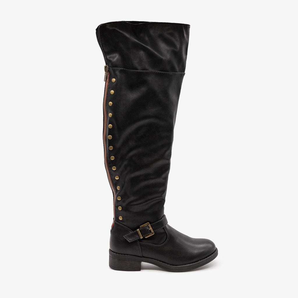 Womens Studded Knee High Boots - Refresh - Black / 5
