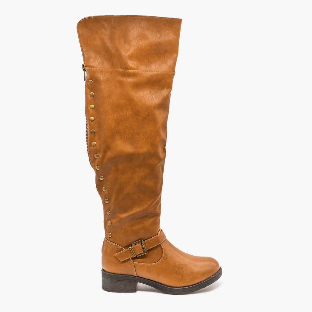 Womens Studded Knee High Boots - Refresh - Tan / 5