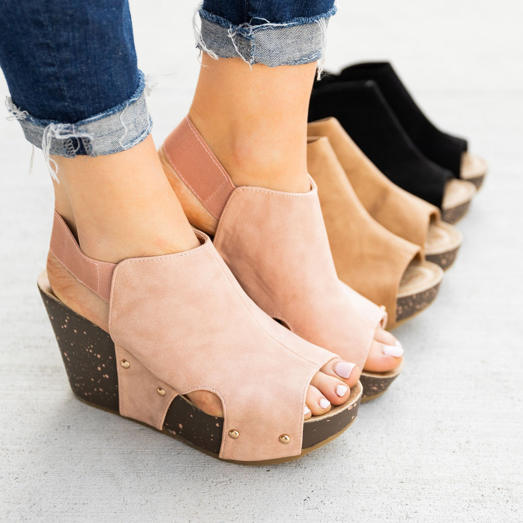 Women's Studded Open-Toe Platform Fashion Wedges - Refresh