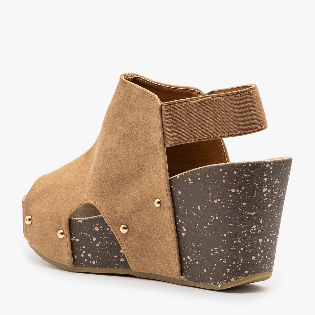 Womens Studded Open-Toe Platform Fashion Wedges - Refresh