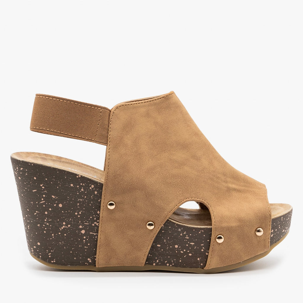 Womens Studded Open-Toe Platform Fashion Wedges - Refresh - Taupe / 5