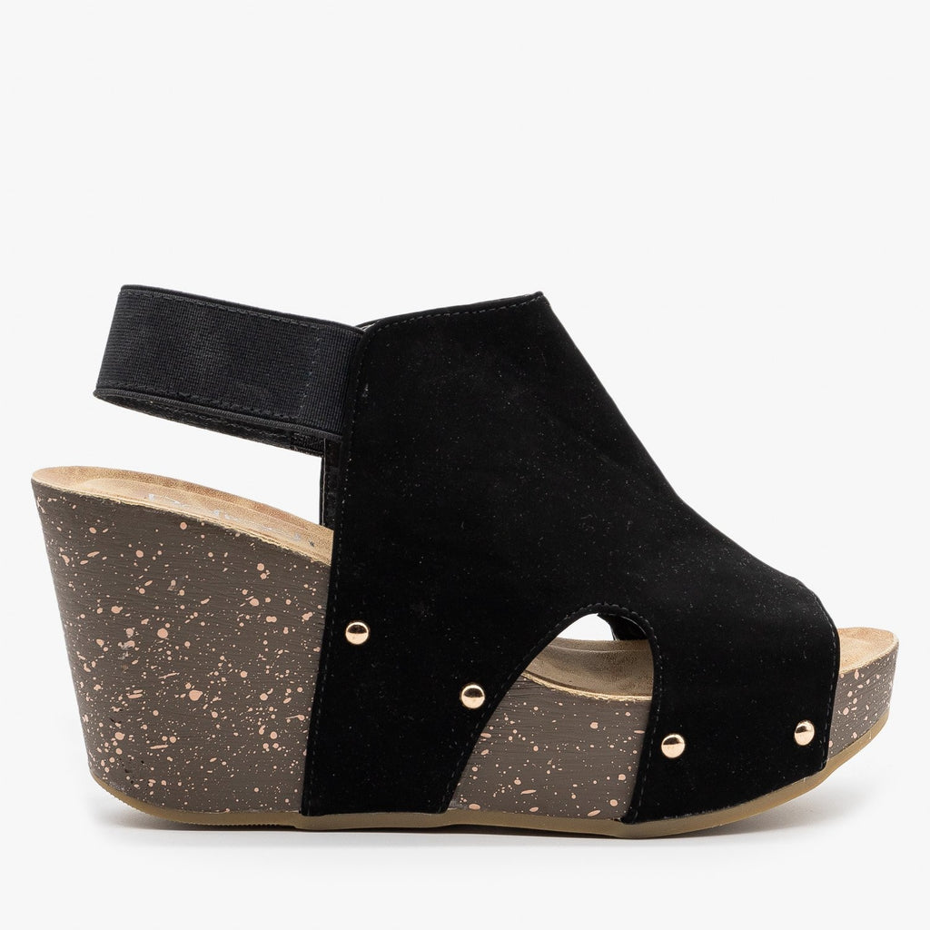 Womens Studded Open-Toe Platform Fashion Wedges - Refresh - Black / 5