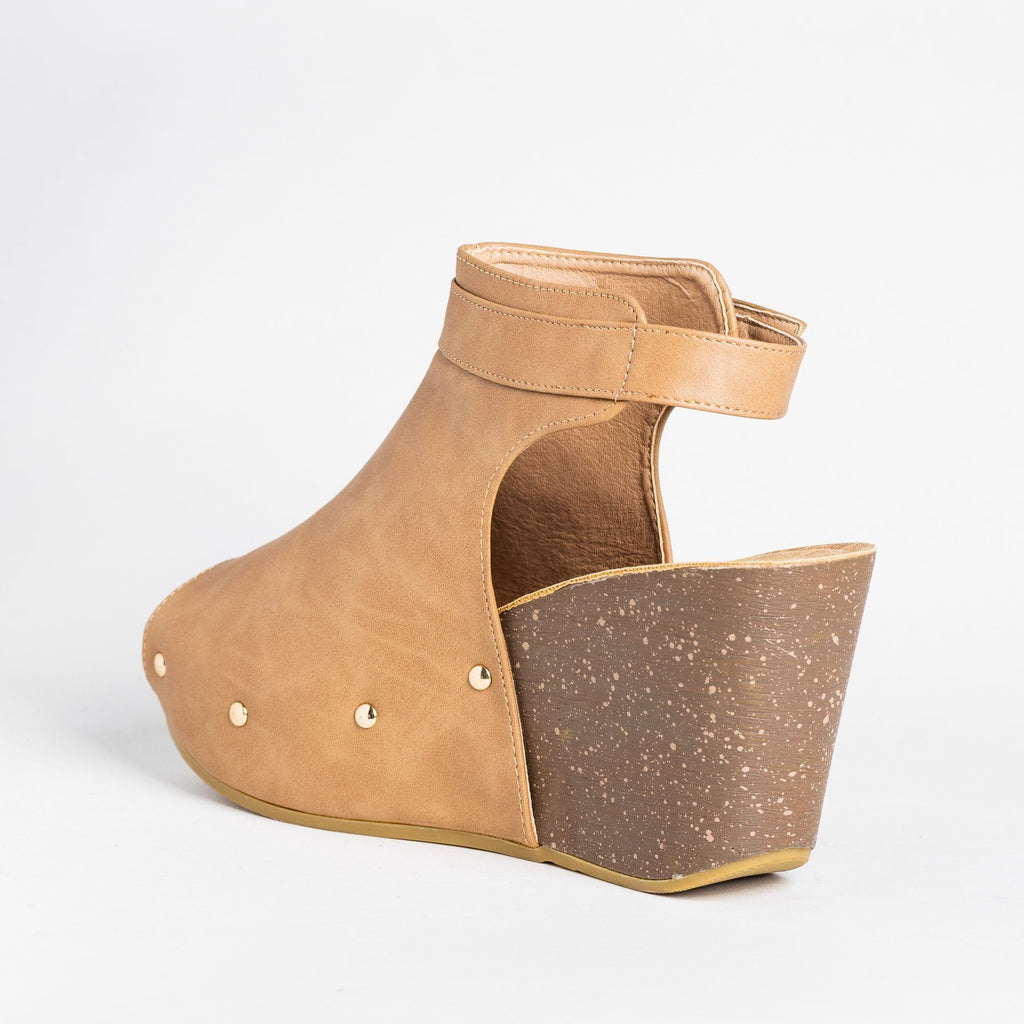 Womens Studded Open-Toe Wedges - Refresh