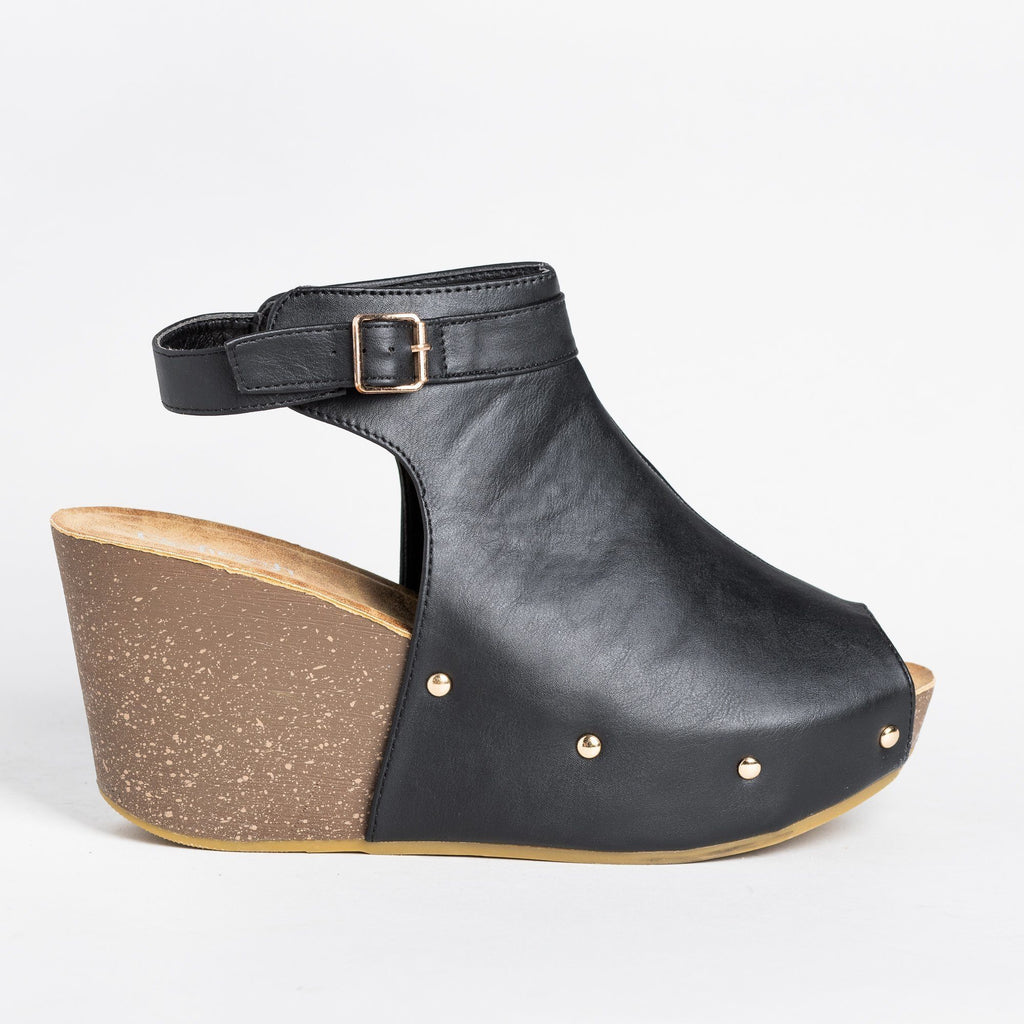 Womens Studded Open-Toe Wedges - Refresh - Black / 5