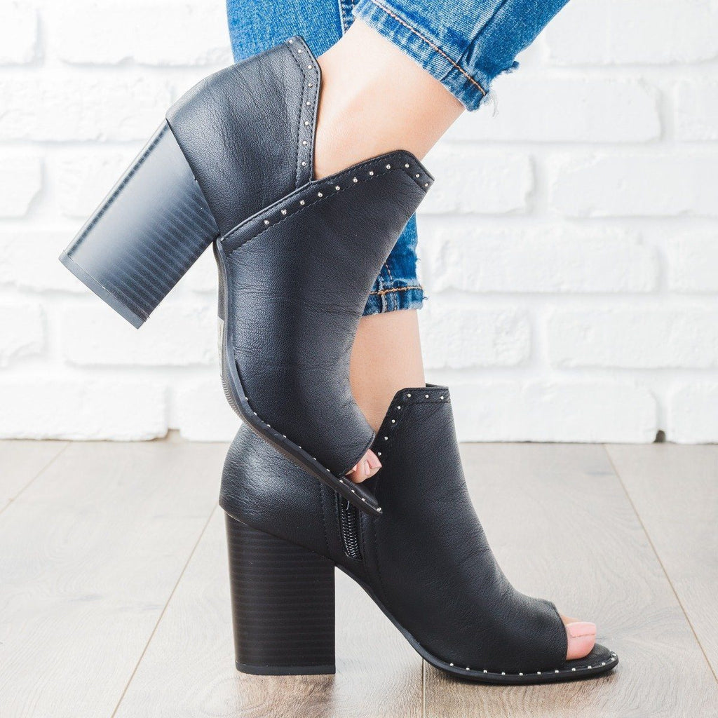 Womens Studded Peep Toe Bootie - Soda Shoes