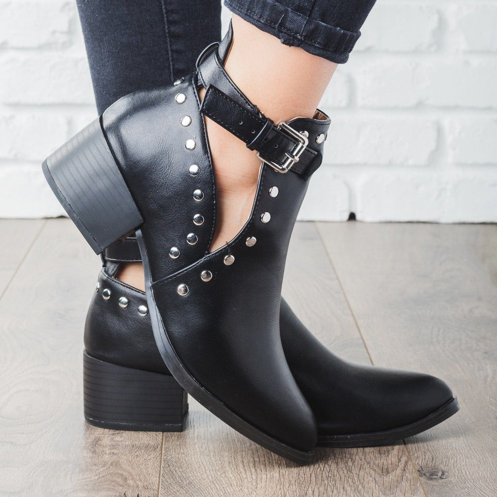 Womens Studded Rocker Booties - Qupid Shoes - Black / 5