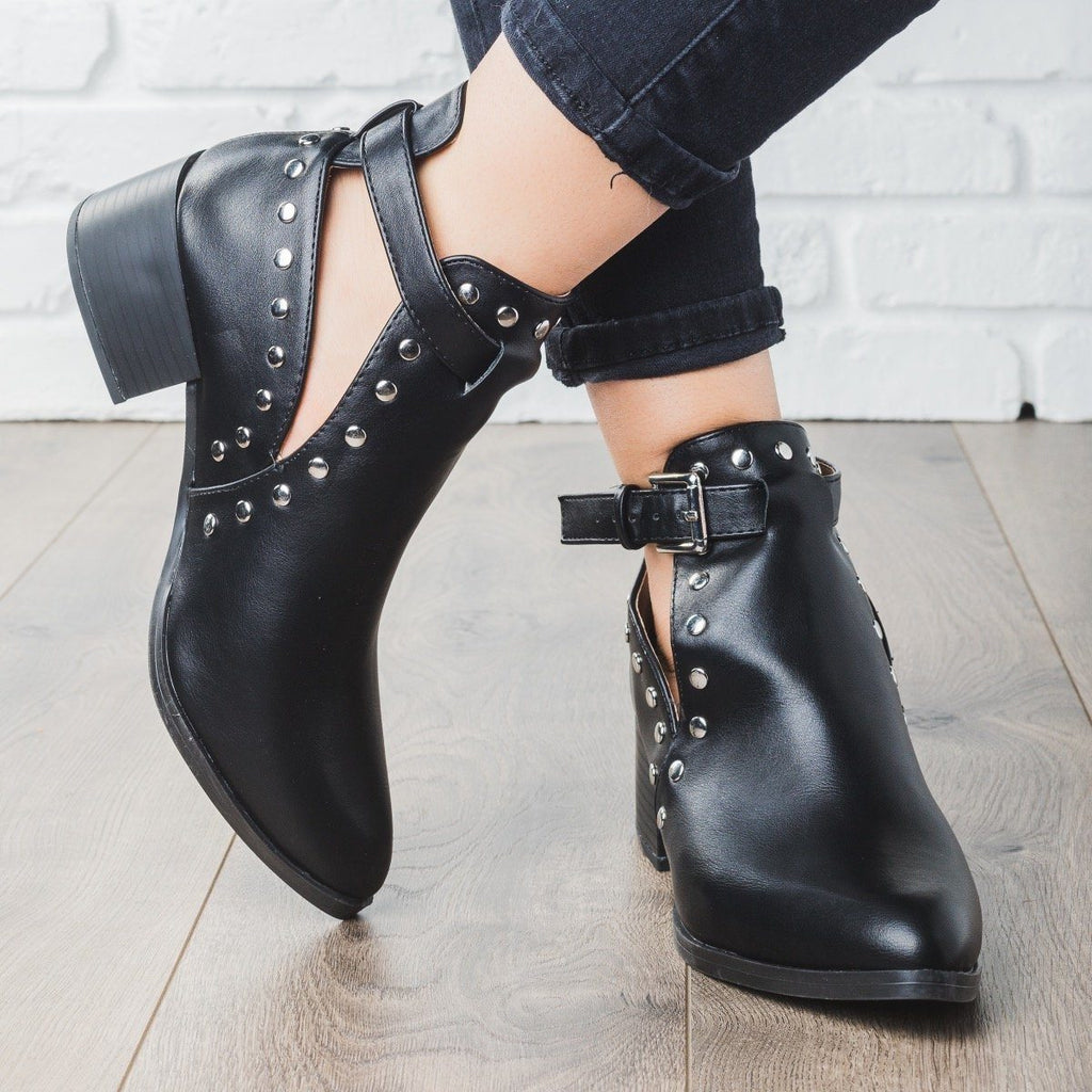 Studded Rocker Booties - Qupid Shoes