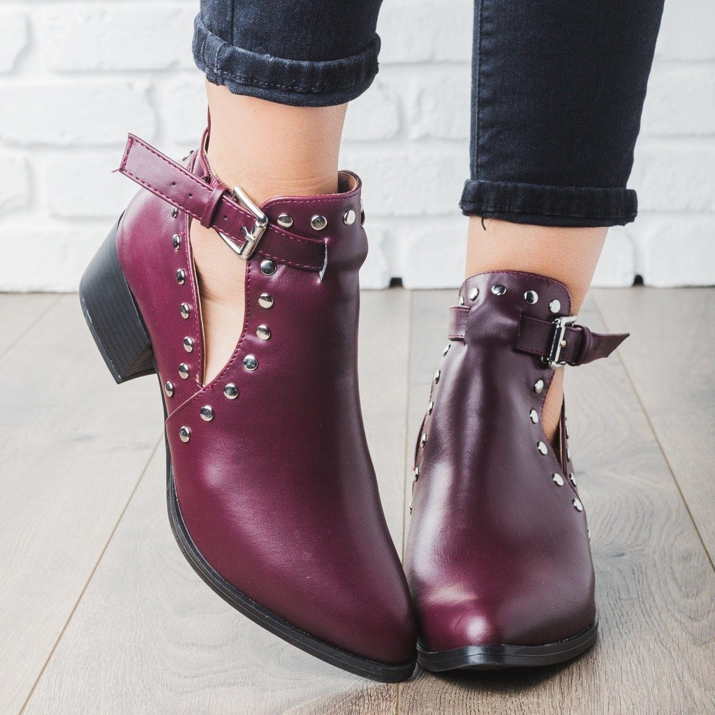 Womens Studded Rocker Booties - Qupid Shoes