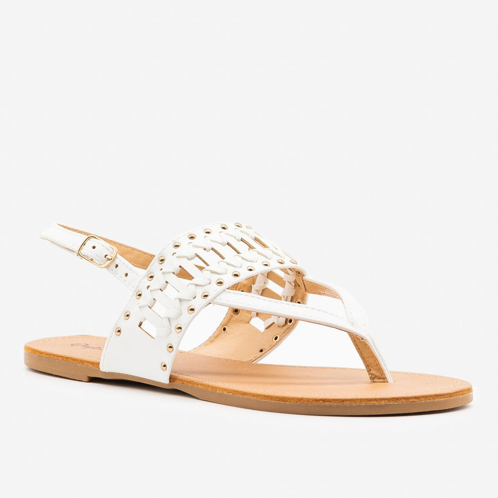 Women's Studded Simple Slingback Sandals - Qupid Shoes