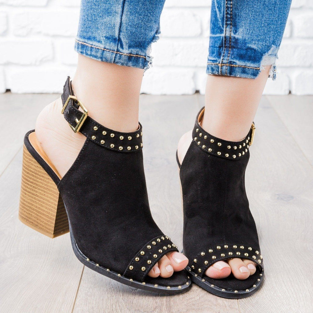Womens Studded Slingback Booties - Qupid Shoes - Black / 11