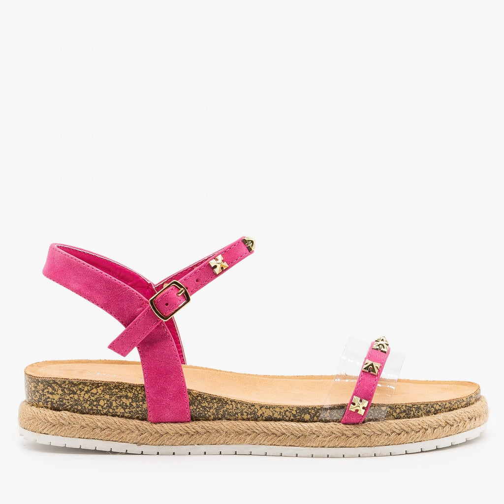Womens Studded Strappy Espadrille Sandals - Nature Breeze - Fuchsia / 5