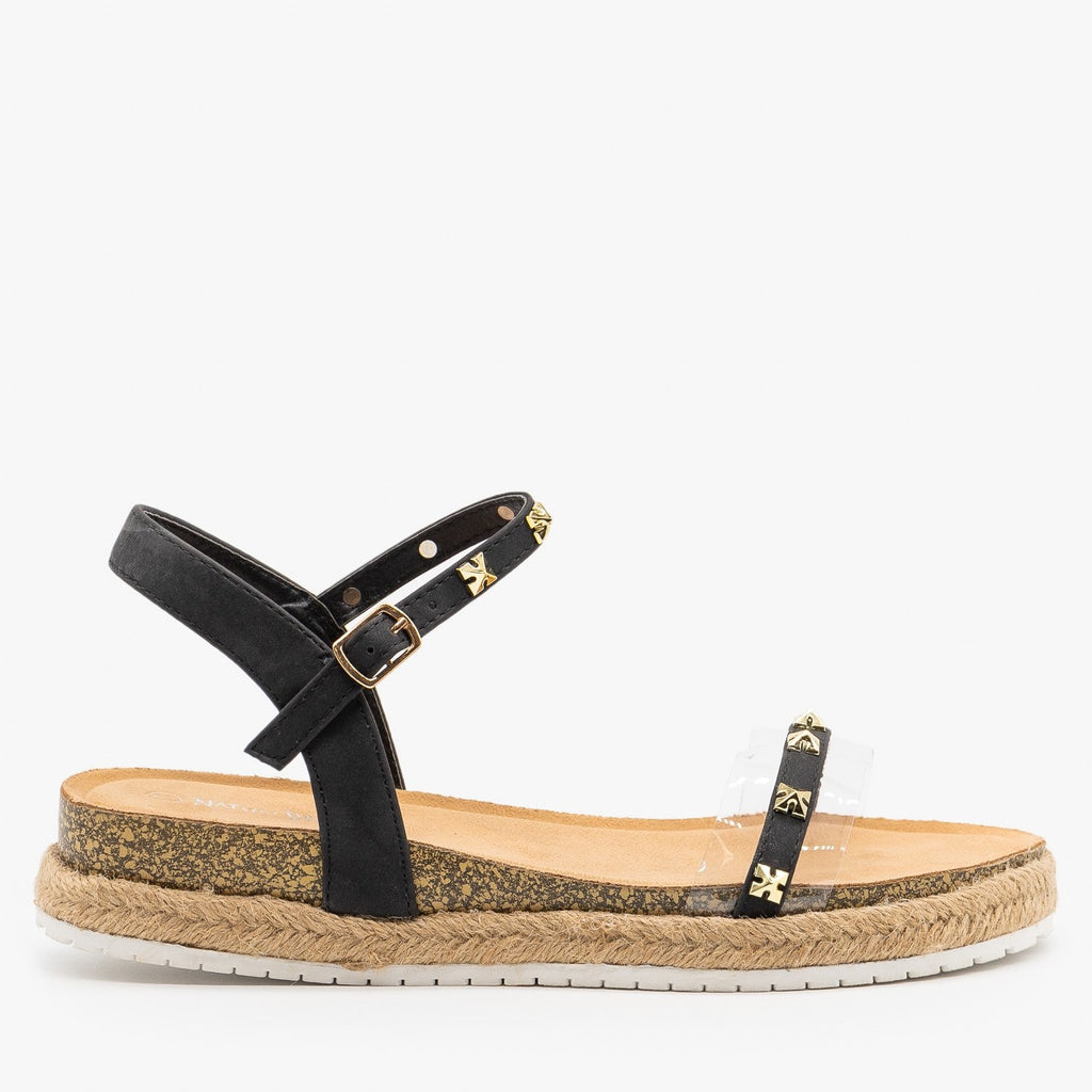 Womens Studded Strappy Espadrille Sandals - Nature Breeze - Black / 5