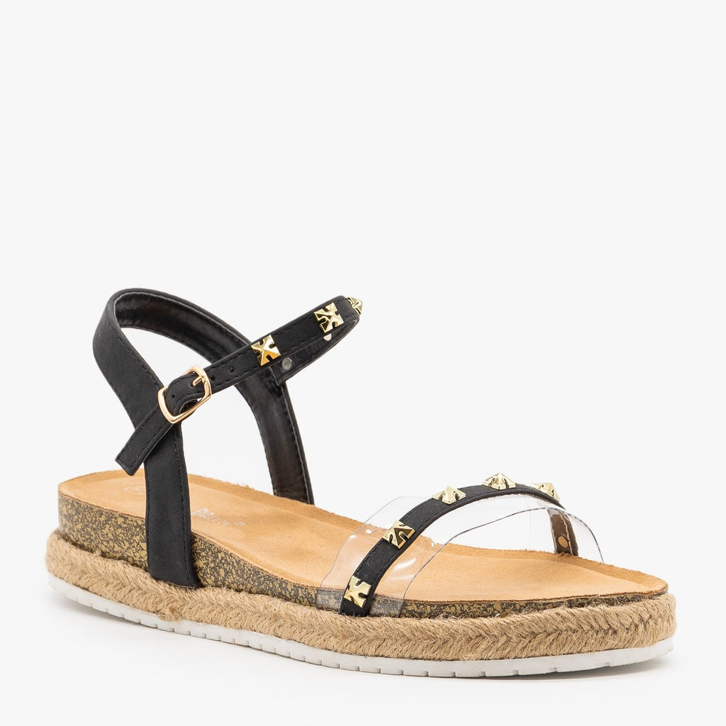 Womens Studded Strappy Espadrille Sandals - Nature Breeze