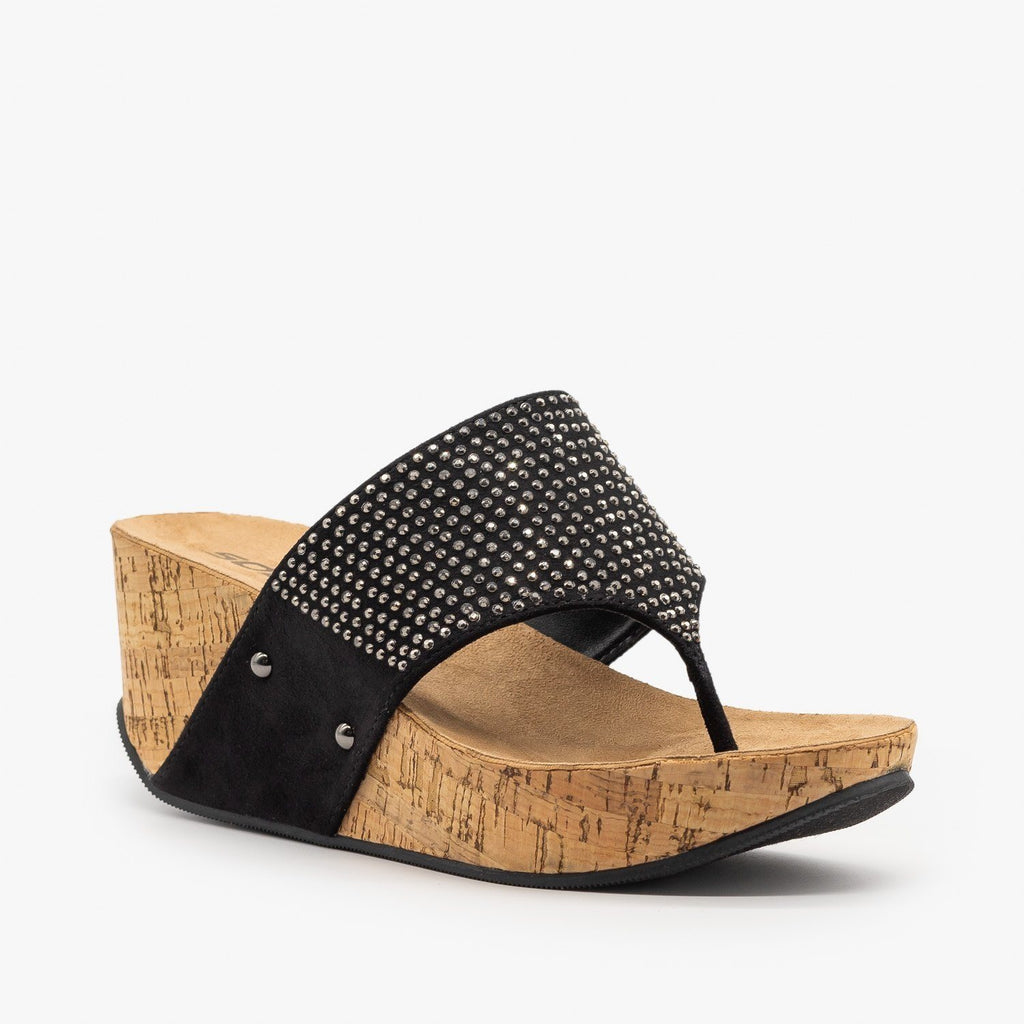 Womens Studded Thong-Toed Cork Wedge Sandals - Soda Shoes - Black / 5