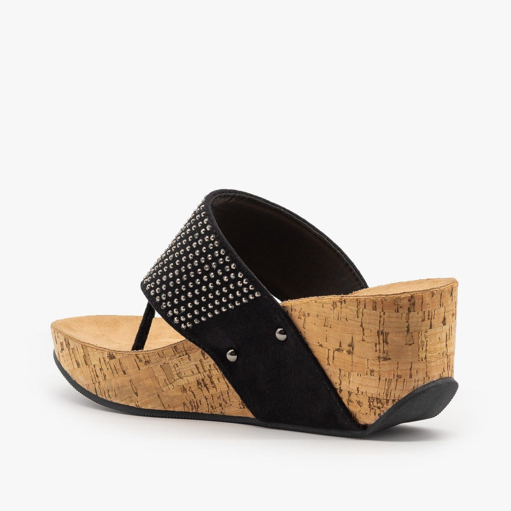 Womens Studded Thong-Toed Cork Wedge Sandals - Soda Shoes