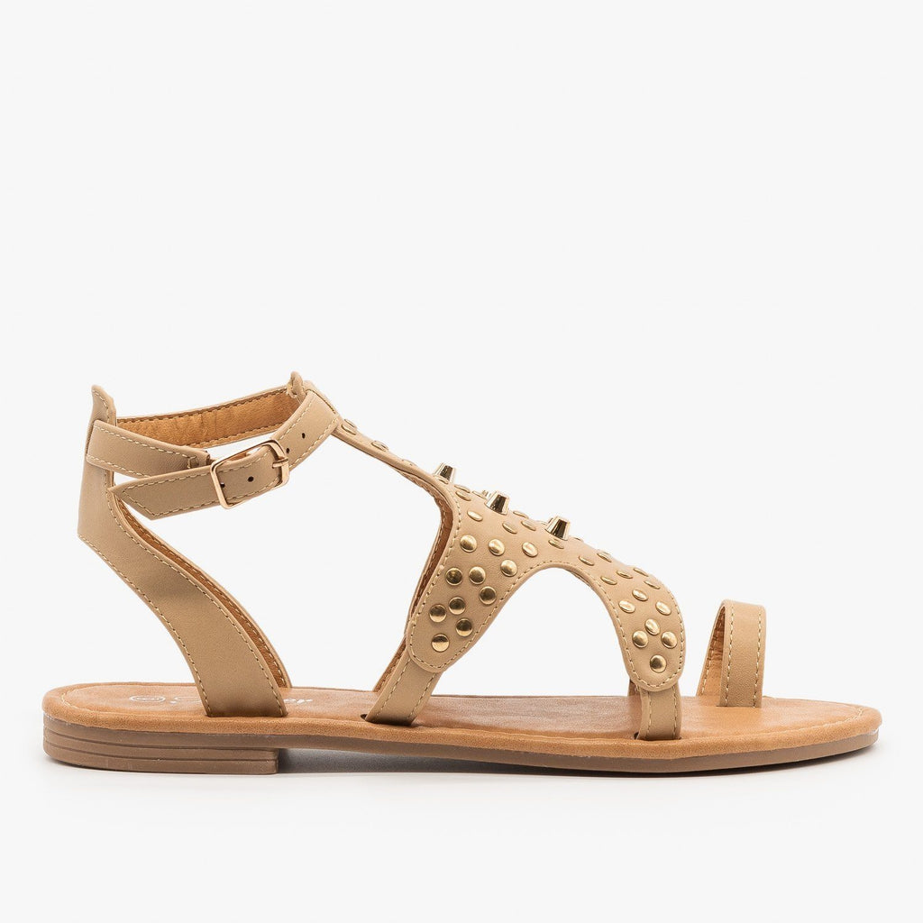 Womens Studded Toe Hold Sandals - Forever - Taupe / 5