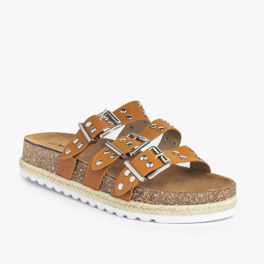 Womens Studded Triple Buckle Cork Slides - Nature Breeze - Tan / 5