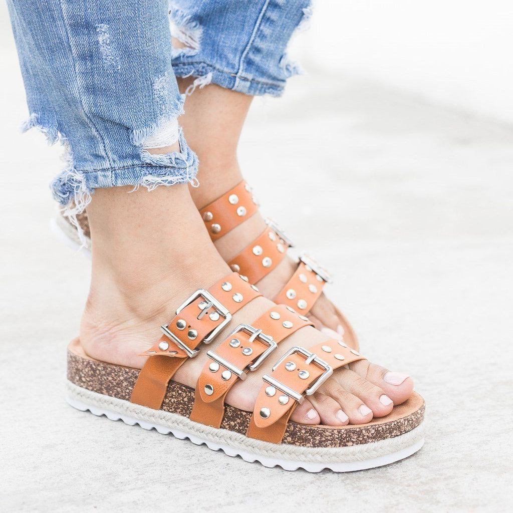 Womens Studded Triple Buckle Cork Slides - Nature Breeze