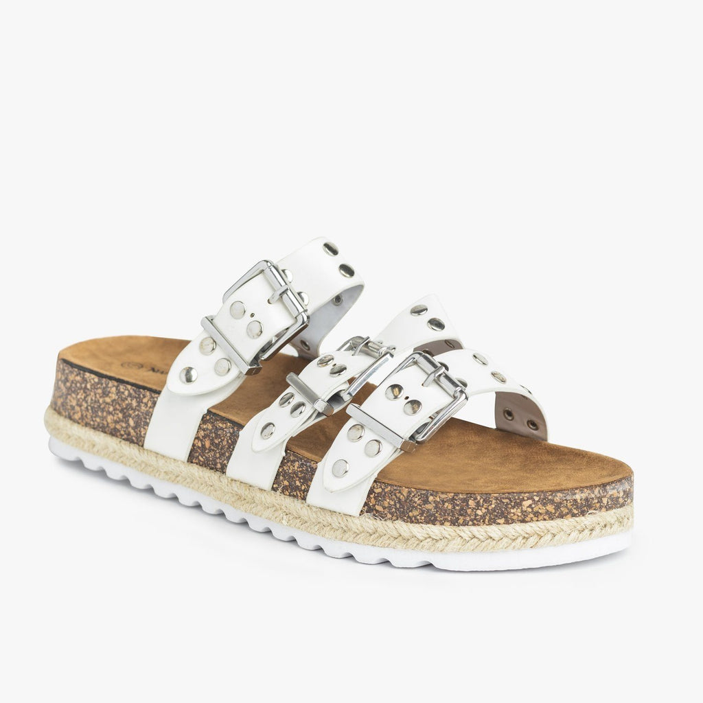 Womens Studded Triple Buckle Cork Slides - Nature Breeze - White / 5
