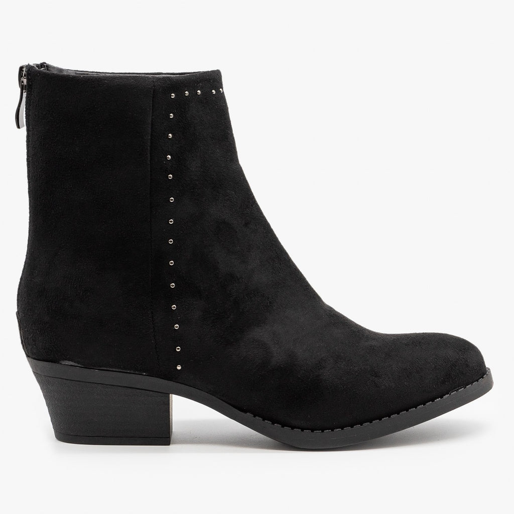 Womens Studded West-Inspired Booties - Nature Breeze - Black Faux Suede / 5