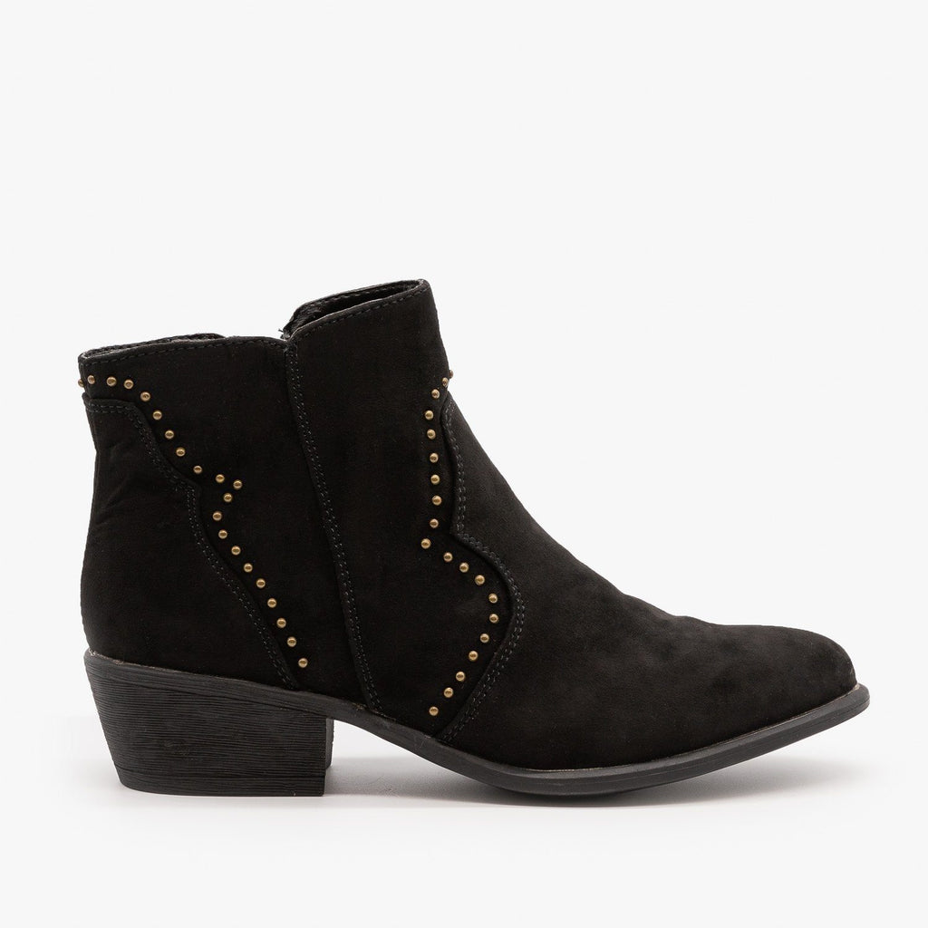 Womens Studded Western-Style Booties - Bamboo Shoes - Black / 5