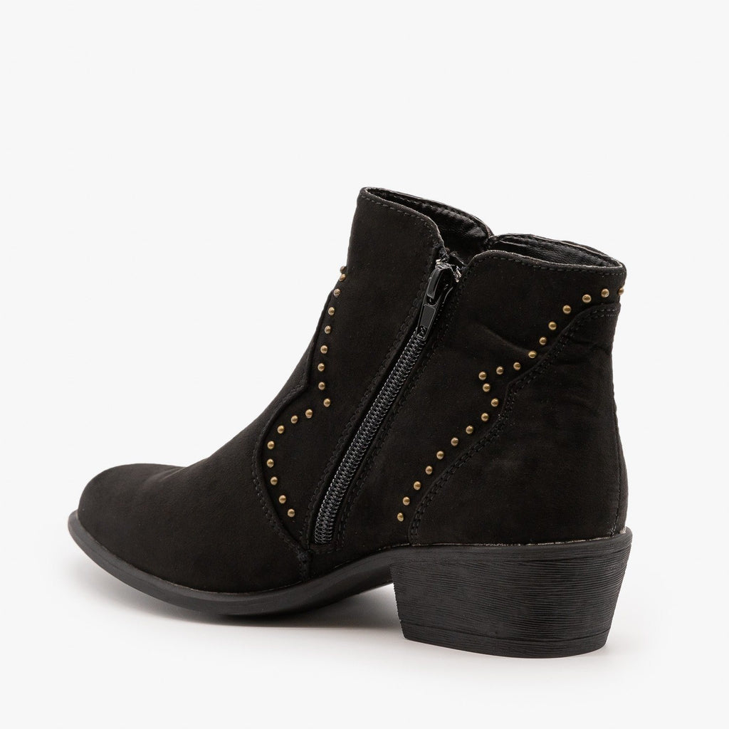 Womens Studded Western-Style Booties - Bamboo Shoes