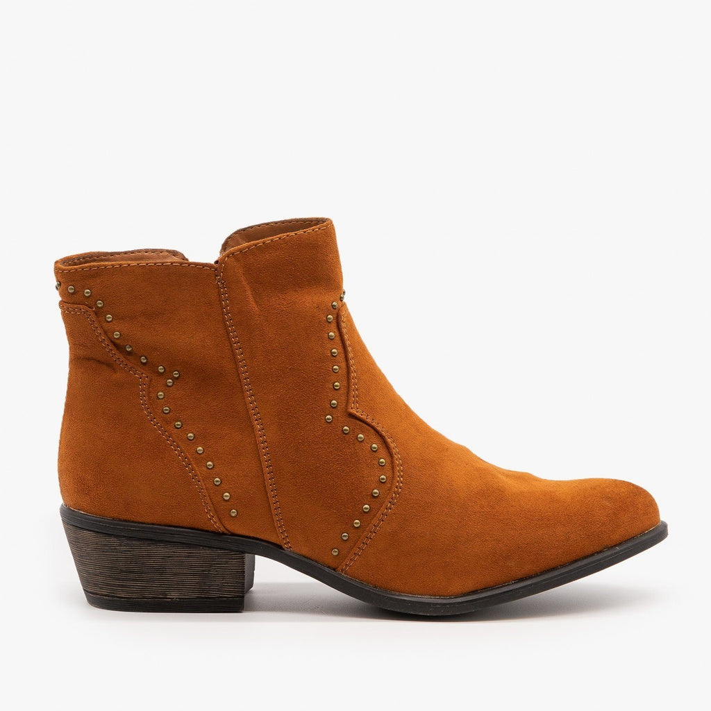 Womens Studded Western-Style Booties - Bamboo Shoes - Chestnut / 5