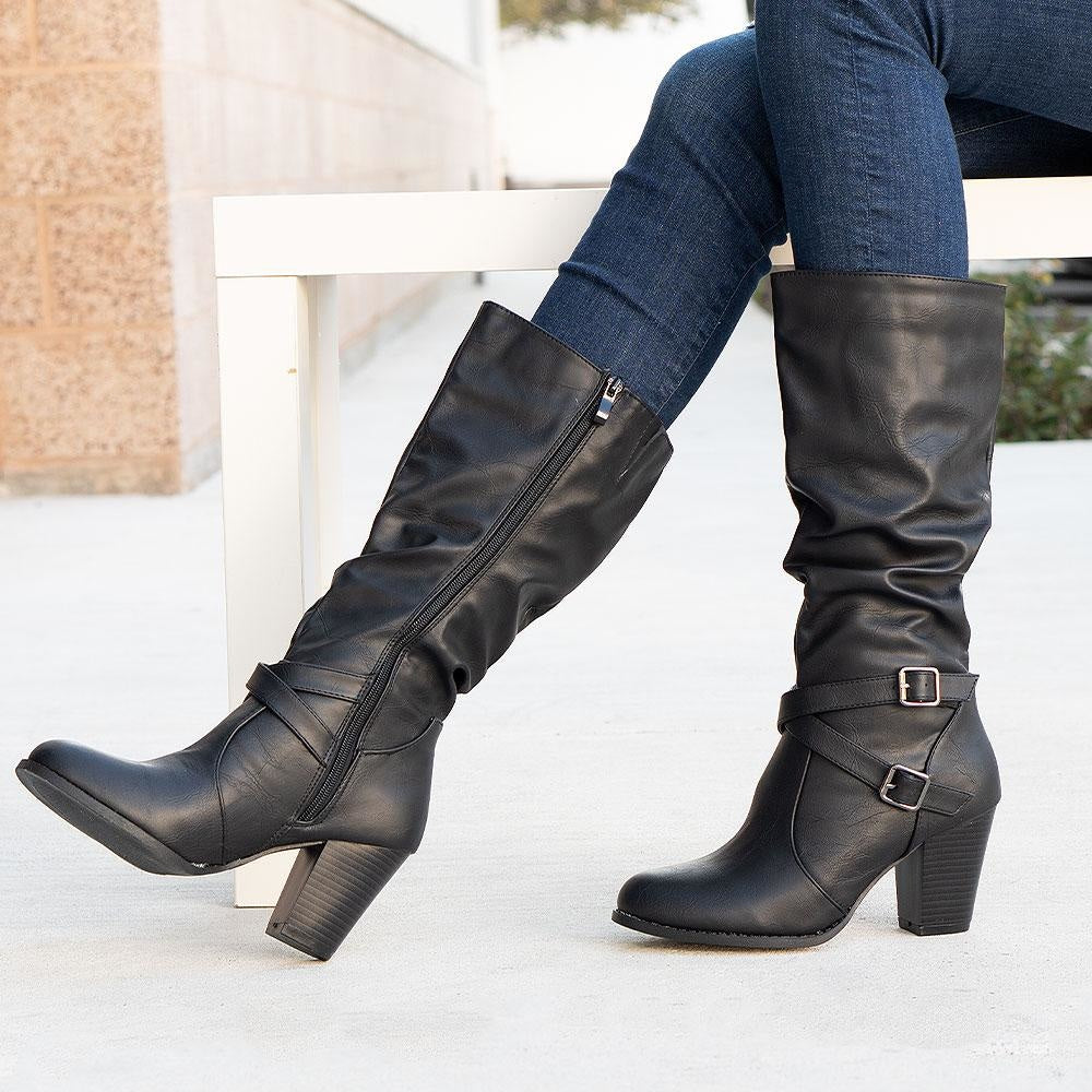 Women's Stunning Heeled Boots - Forever - Black / 5