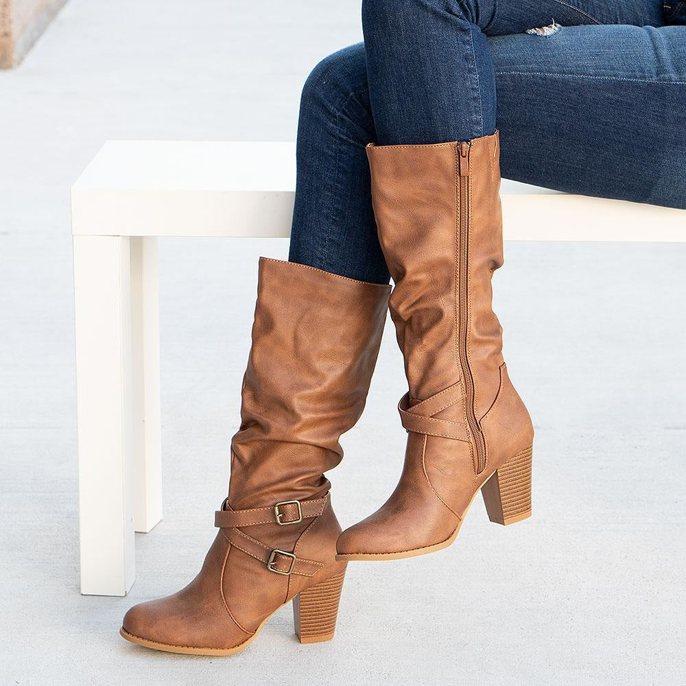 Women's Stunning Heeled Boots - Forever - Tan / 5