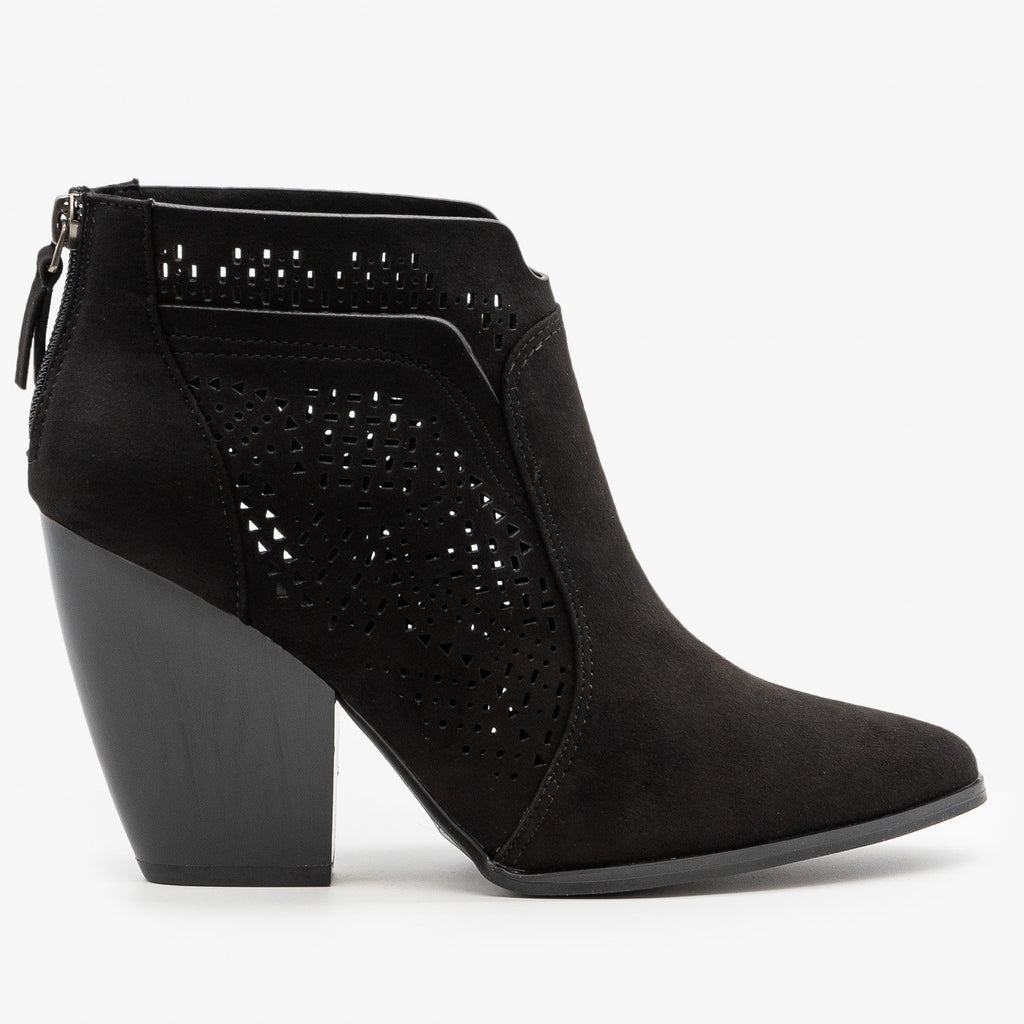 Womens Stunning Laser Cut Booties - Qupid Shoes - Black / 5