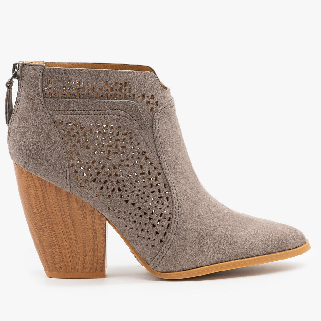 Womens Stunning Laser Cut Booties - Qupid Shoes - Gray / 5