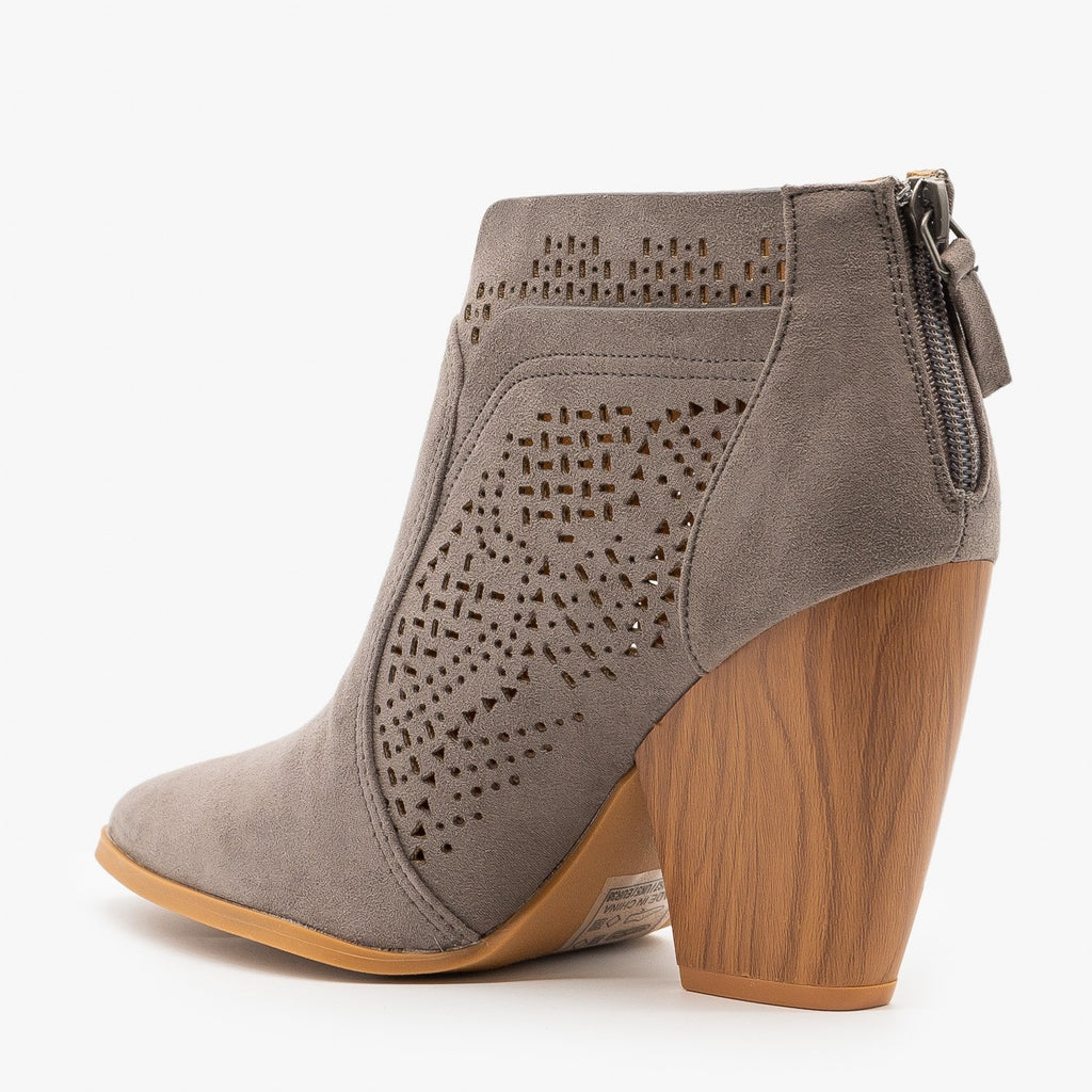 Womens Stunning Laser Cut Booties - Qupid Shoes