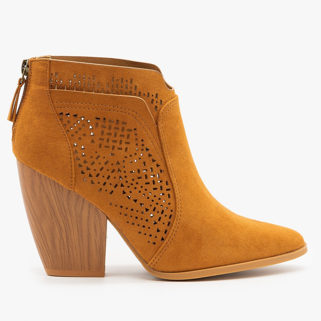 Womens Stunning Laser Cut Booties - Qupid Shoes - Rust / 5