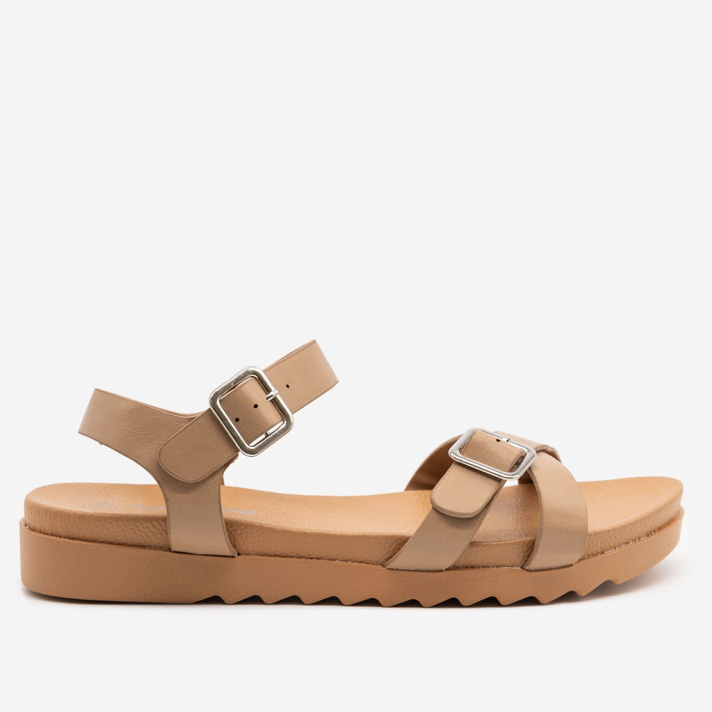 Women's Sturdy Cross-Buckled Sandal - Weeboo - Taupe / 5