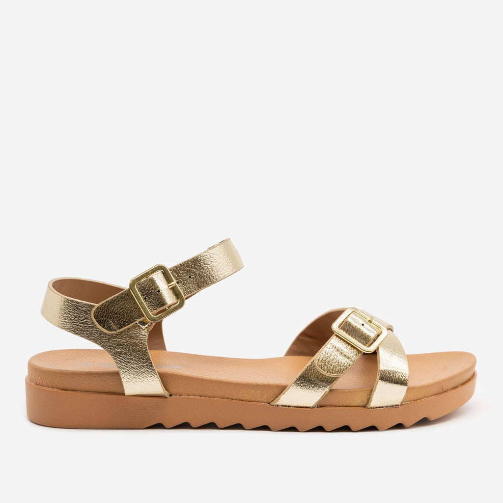 Women's Sturdy Cross-Buckled Sandal - Weeboo - Soft Gold / 5