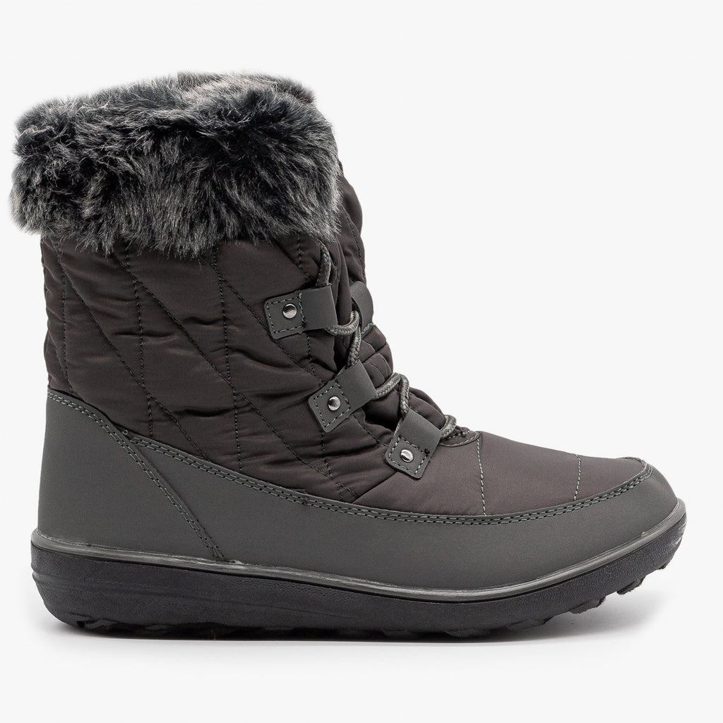 Womens Sturdy Cuffed Snow Boots - Refresh - Gray / 5