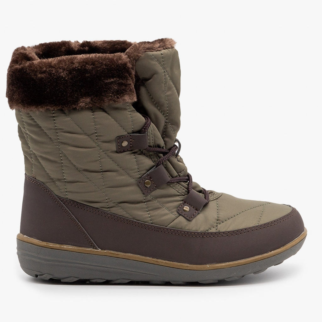 Womens Sturdy Cuffed Snow Boots - Refresh - Olive / 5