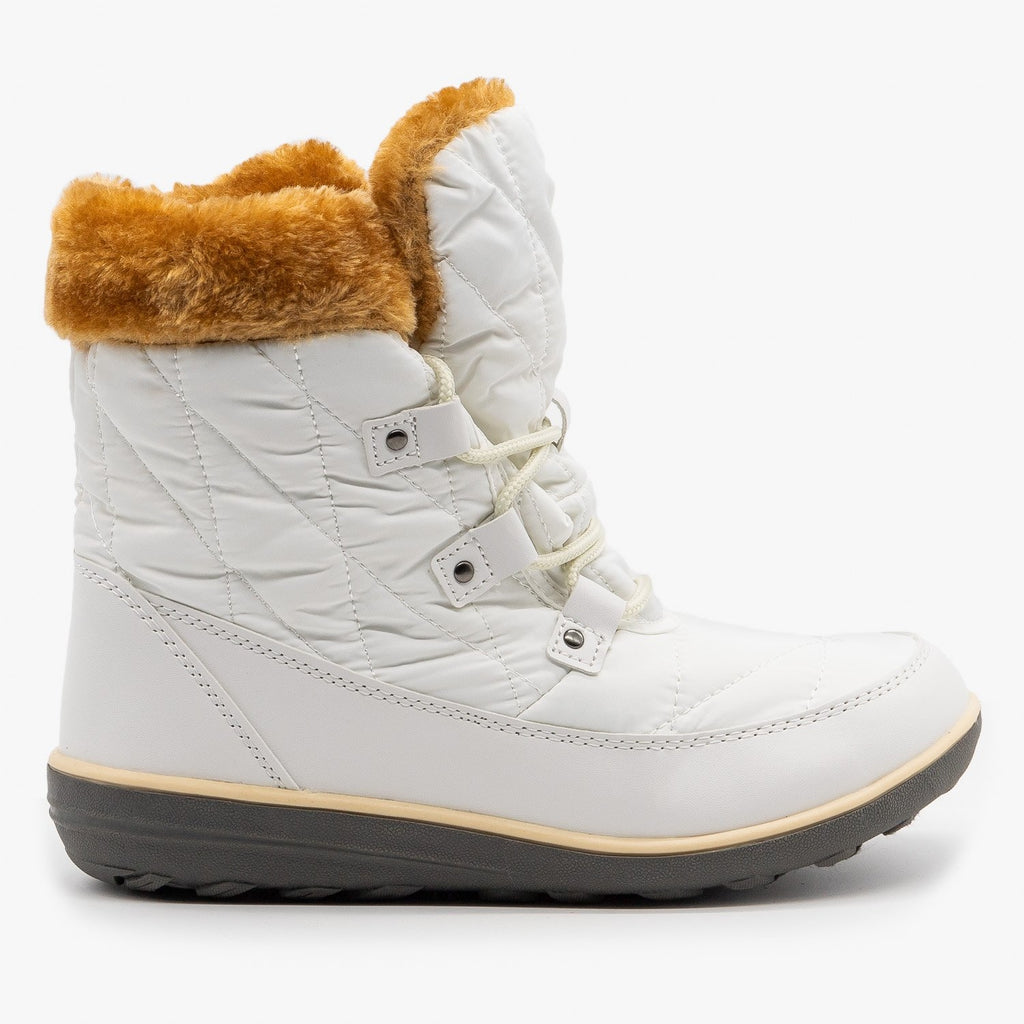 Womens Sturdy Cuffed Snow Boots - Refresh - White / 5