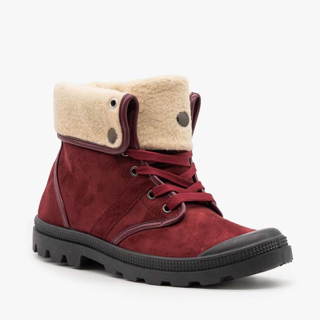 Womens Sturdy Cuffed Winter Boots - Refresh - Wine / 5