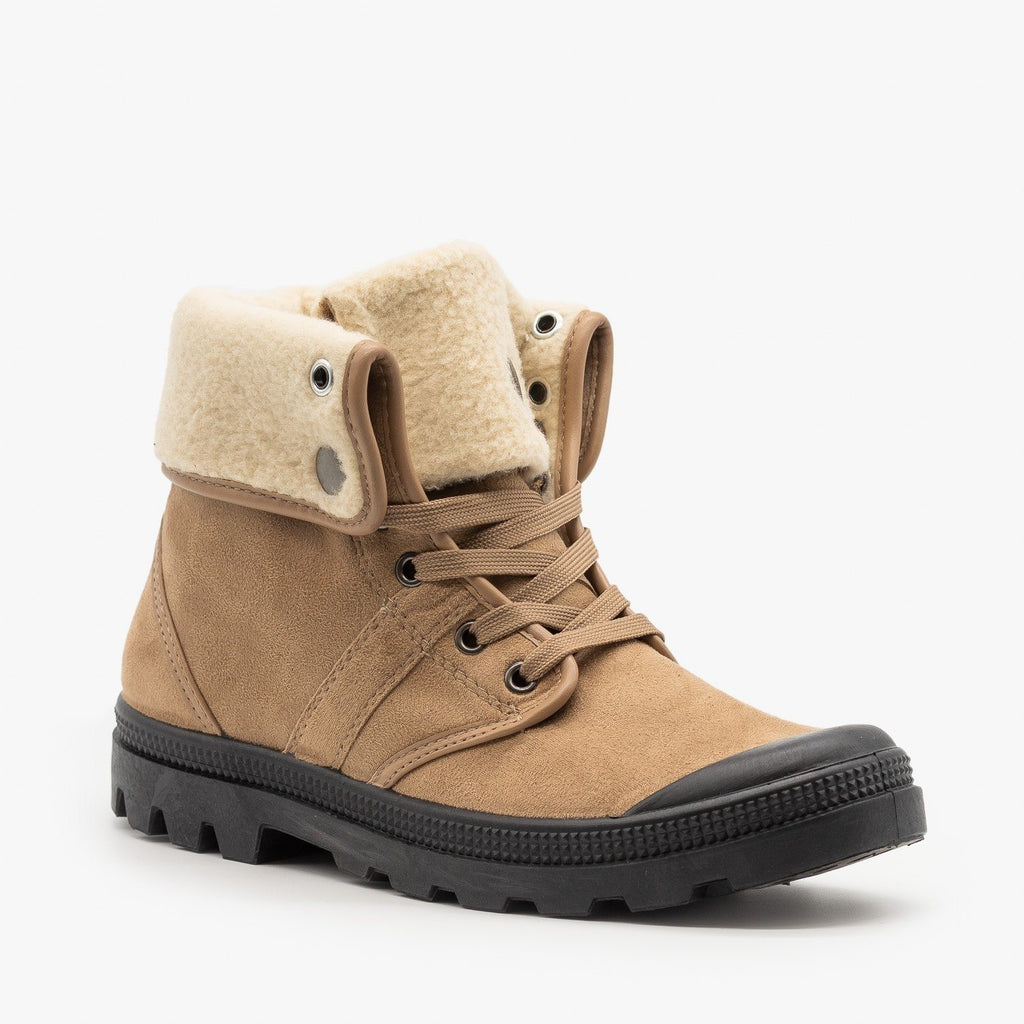 Womens Sturdy Cuffed Winter Boots - Refresh - Taupe / 5